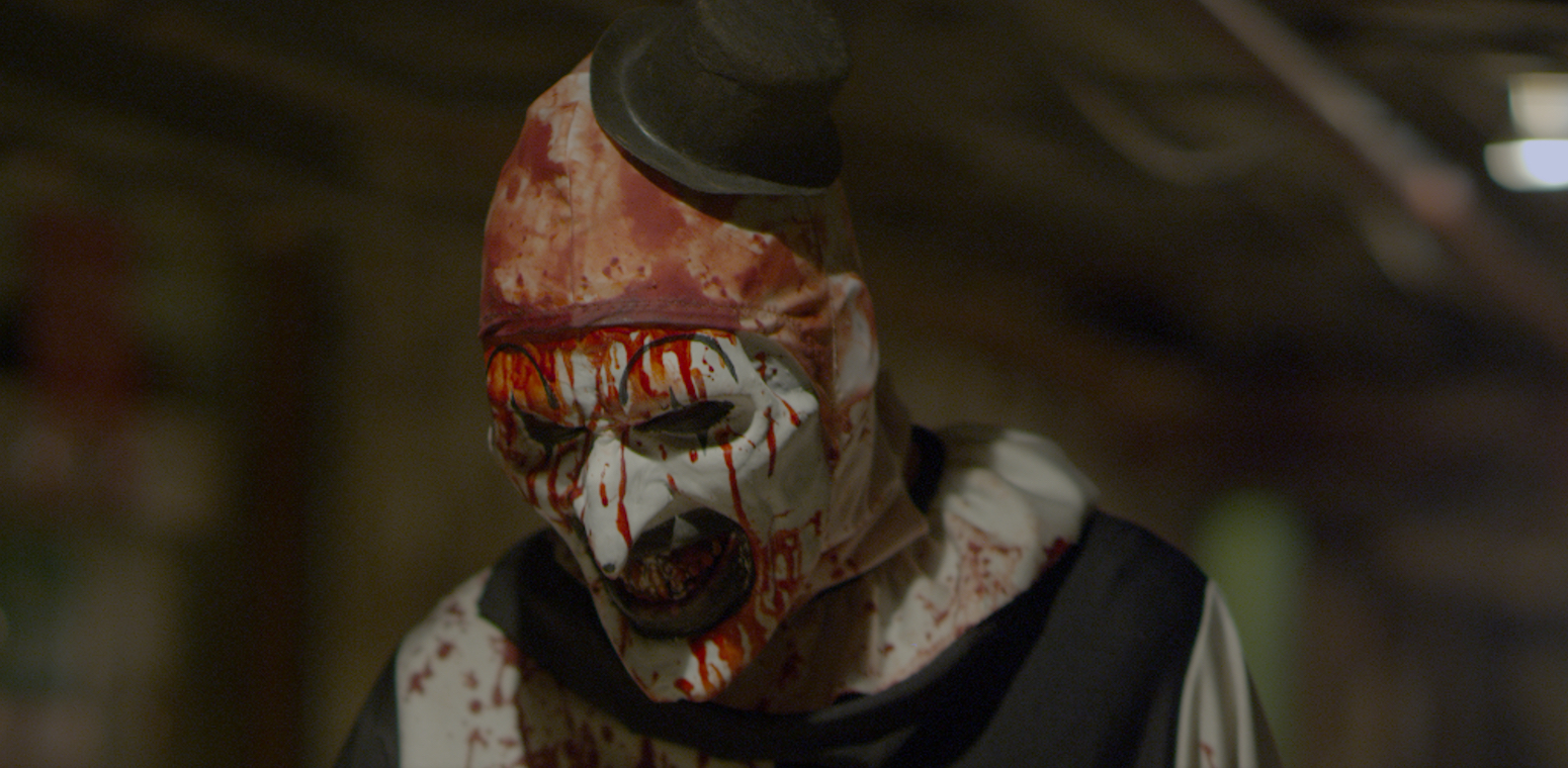 This is a still from the film, Terrifier.